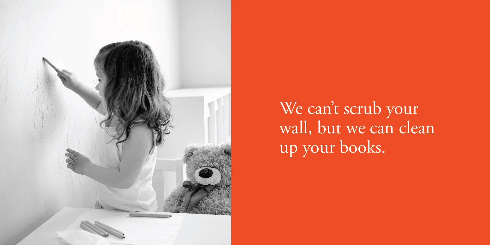 We can't scrub your wall, but we can clean up your books.